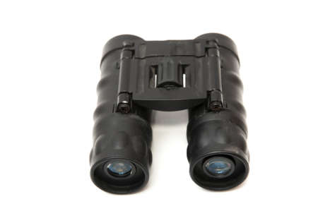 black binoculars on a white background photo