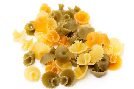colored pasta on a white background photo