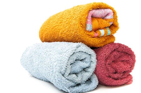 Designer towels on a white background