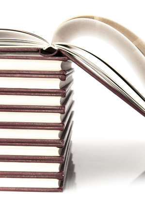 school books on a white background photo
