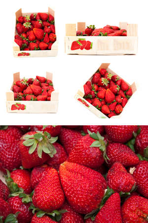 red strawberries on a white background Stock Photo