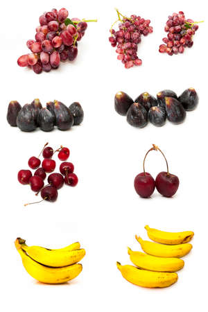 collage of different fruits on a white background photo