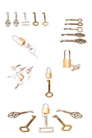 keys and locks on a white background photo