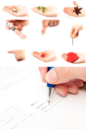 collage of hands on a white background photo