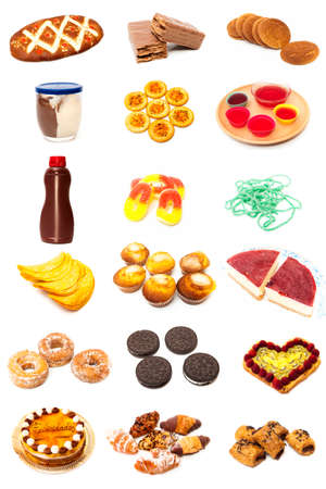 Food collage type pastries on a white background photo