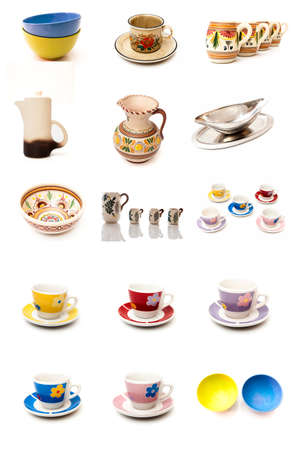 types mural cups on a white background photo
