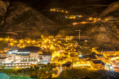 Andorra La Vella village at night where all the lights are observed Stock Photo