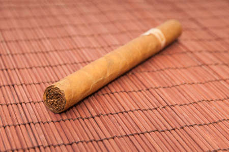Havana cigar on a wooden background photo
