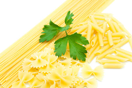 Italian pasta on a white background photo