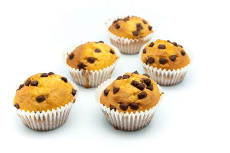 madalena: muffins with chocolate on a white background