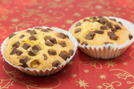 madalena: Chocolate chip muffins on a Christmas