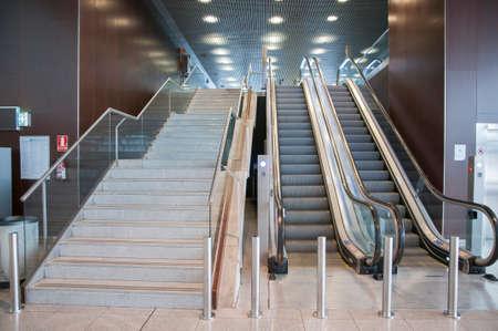 escalators at the airport of Barcelona photo