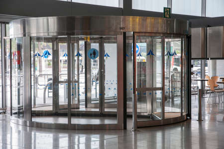 revolving door at the entrance of the hall