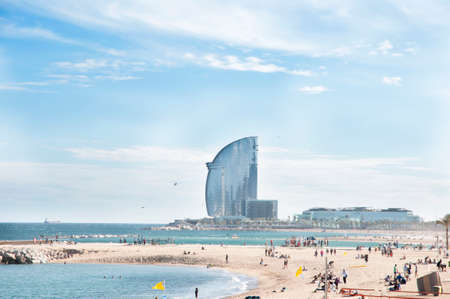 Barcelana a beach hotel in the background