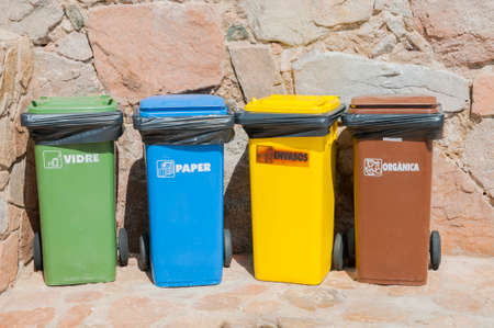 different dumpsters to recycle all materials photo