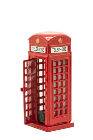 telephone booth uk on a white background photo
