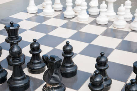 chess game with large pieces photo