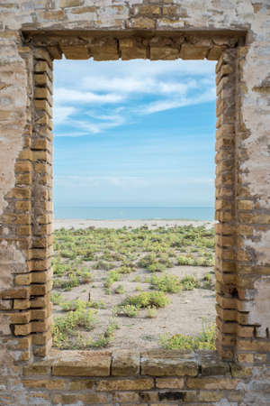 window overlooking the beach Llobregat, Barcelona photo