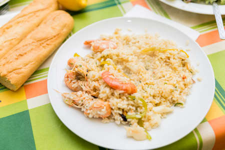 valencian: Valencian paella cooked seafood and rice