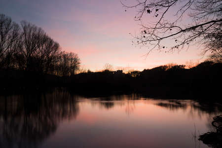 sunset on the lake in the Roca Del Valles photo