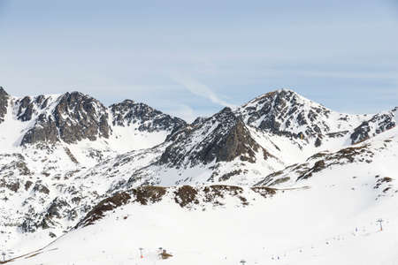 snowy mountains: snowy mountains in Andorra la Vella Stock Photo
