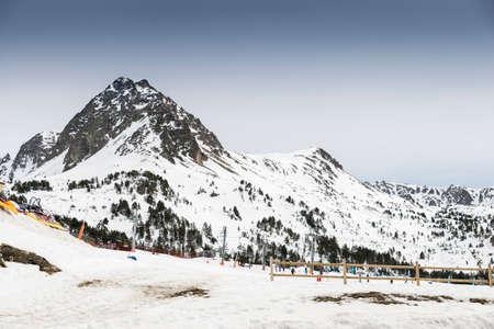 andorra: snowy mountains in Andorra la Vella Stock Photo