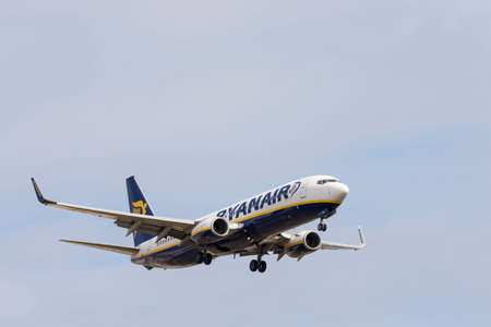 Ryanair airline plane at the airport in Barcelona, Spain on 05102015