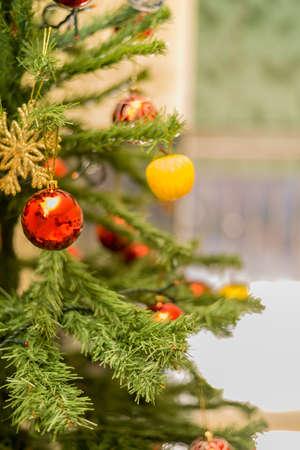 Christmas tree with hanging balls Imagens