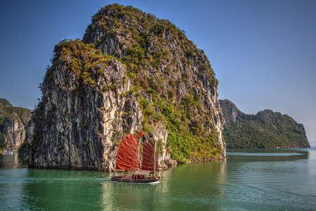 halong: Traditional ships sailing in Halong Bay, Vietnam Stock Photo