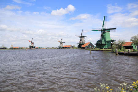 dutch culture: Traditional Dutch windmills at Zaanse Schans closed to Amsterdam