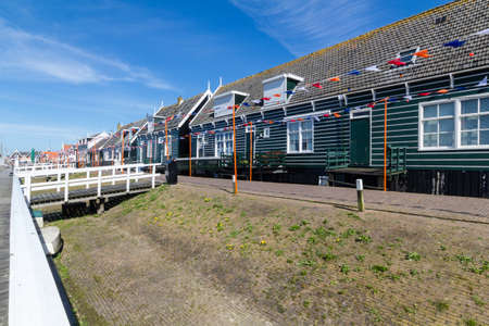 architecture detached house: Panoramic shot of village Marken in Netherlands