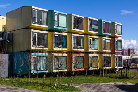 eem: Amersfoort, Netherlands, Colorful student accommodation along the Eem river Editorial