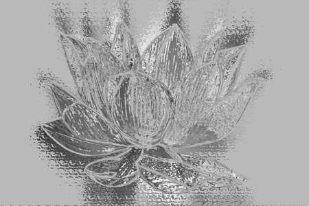 Artistic silver Lotus flower graphism