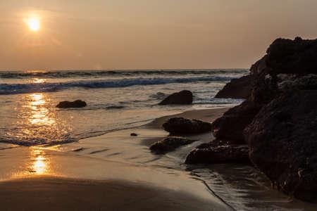 varkala: Sunset on Varkala Beach in Kerala, India Stock Photo
