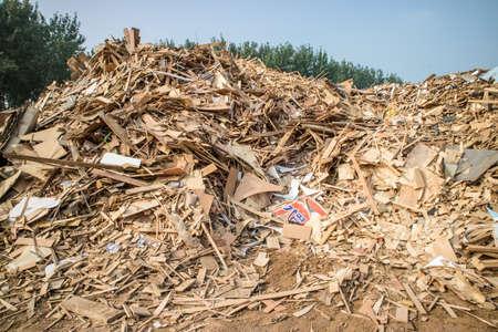biomasa: Biomasa a partir de residuos de madera, pelets, astillas de madera para la generación de energía Foto de archivo