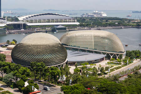 Singapore Downtown and its Esplanade Theatre on the Bay Editorial