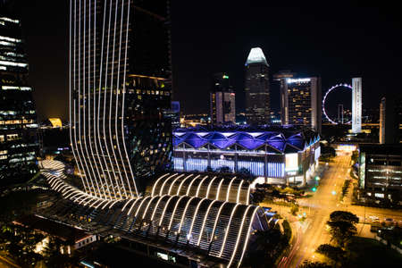 Night view Singapore Downtown, Convention Centre