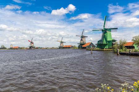 Traditional Dutch windmills at Zaanse Schans closed to Amsterdam