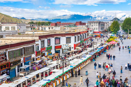 Lhasa City central square and market, China