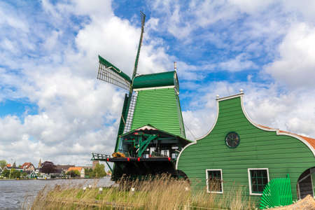 common reed: Traditional Dutch windmills at Zaanse Schans closed to Amsterdam