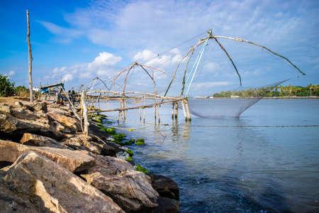 Chinese fishing net on seashore, Kerala, India