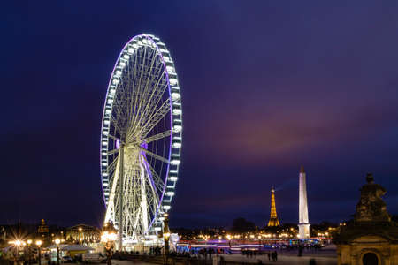 Paris Big wheel, Eiffel Tower, Obelisque during Christmss time on the Concorde Place