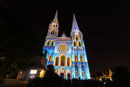 Building facade light festival Chartres in France