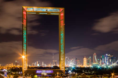 Dubai skyline and the Frame at night Фото со стока - 117026050
