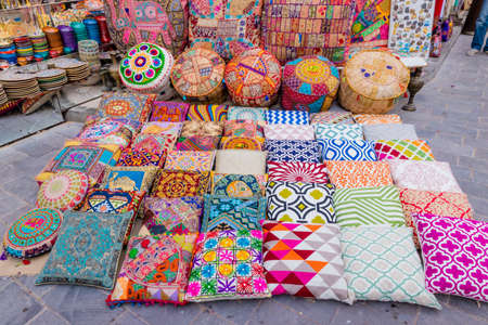 Dubai souks and its colours from goods in Bur Dubai Фото со стока