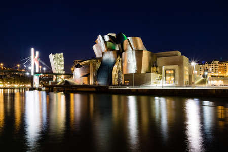 Bilbao city architectural at night and touristic places must see highlights
