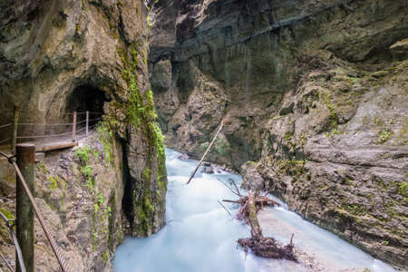 The fascinating touristic wildwater Partnach Gorge in Germany Reklamní fotografie