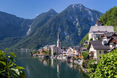 Hallstatt small town as postcard view on lake side Stock Photo