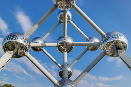 Brussels capital and its world expo Atonium during a full sunny day and blue sky