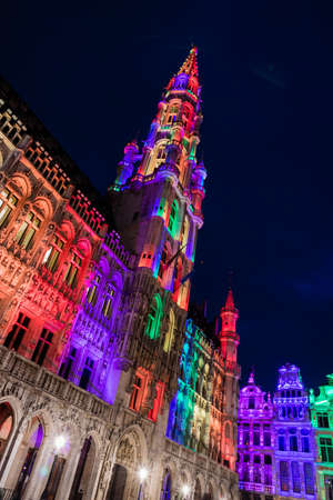 Brussels Grand Place by night and its multi colour show